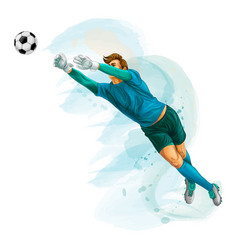 football goalkeeper jump vector image
