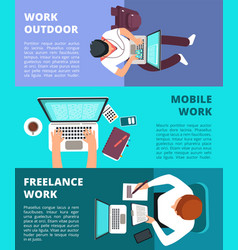 Freelancer journalist working at laptop home work vector