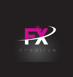 Fx f x creative letters design with white pink vector