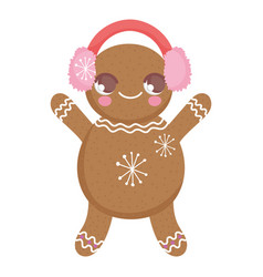 gingerbread man with ear muffs decoration merry vector image
