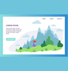 girl walking in nature mountain hiking vacation vector image