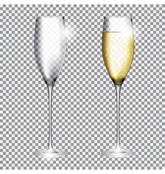 Glass of Champagne Full and Empty on Transparent vector image