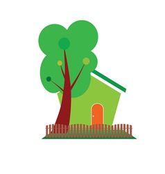Green house and tree symbol for nature vector