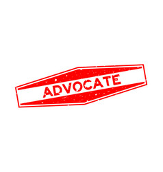 Grunge red advocate word hexagon rubber seal vector