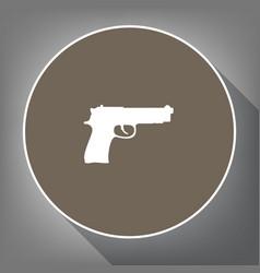 Gun sign white icon on brown vector
