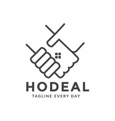 Handshake estate logo design template vector