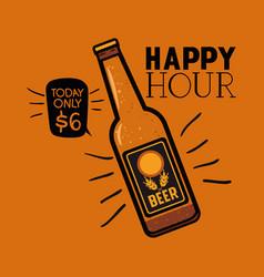 Happy hour beers label with bottle vector