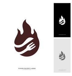 hot steak logo with flame fork and knife shape vector image