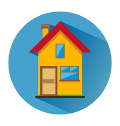 House with one floor flat icon vector