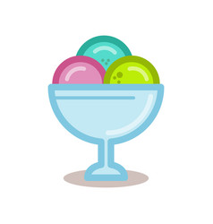 Ice cream balls in the glass bowl line vector