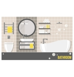 Interior beige modern bathroom vector