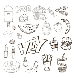 Isolated elements with sweets food and girly vector
