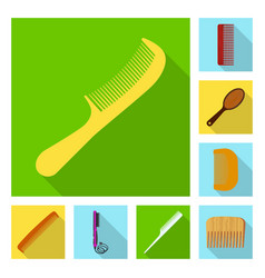 isolated object of brush and hair logo collection vector image