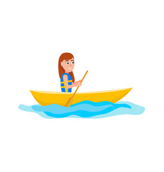 kayaking girl sitting in boat vector image