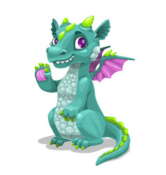little cute cartoon young dragon fantasy monster vector image