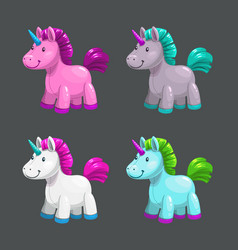 little cute textile unicorn toy icons set vector image