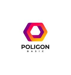 logo polygon gradient colorful vector image
