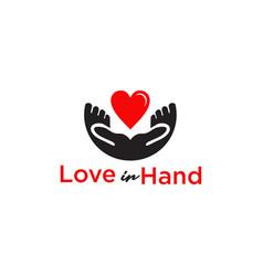 love in hand logo design template vector image