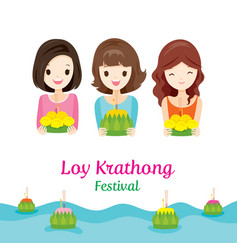 Loy krathong festival with girls culture thailand vector