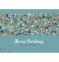 Merry Christmas Greeting card icons vector image