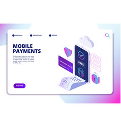 Mobile payments isometric concept online secure vector