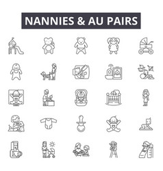 Nannies and au pairs line icons signs set vector