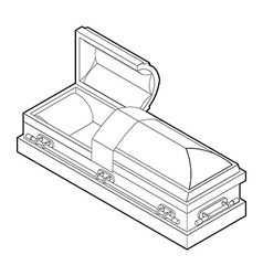 Open coffin in linear style Wooden casket for vector