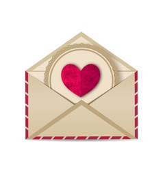 Paper grunge heart in open old envelope vector