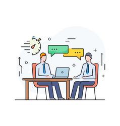 Partners discuss business international deal vector