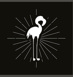 Pink flamingo silhouette badge vector