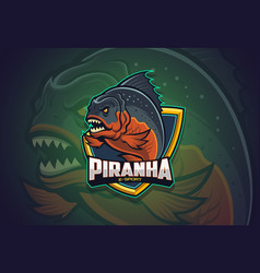 Piranha esport logo design vector