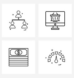 Pixel perfect set 4 line icons such as network vector