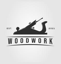 Planer woodwork carpentry logo joinery handyman vector