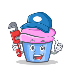 Plumber cupcake character cartoon style vector