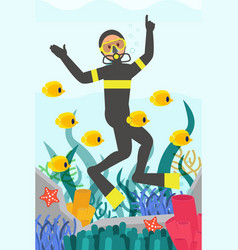 professional diver swimming underwater surrounded vector image