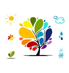 Rainbow tree with weather signs for your design vector image