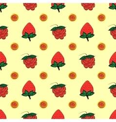 Raspberry strawberry berry seamless pattern vector