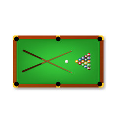 realistic detailed 3d pool billiard green table vector image