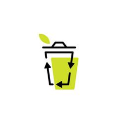 recycle bin leaf organic logo icon organic line vector image