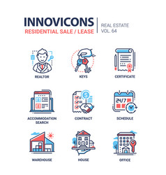Residential sale and lease - line design icons set vector