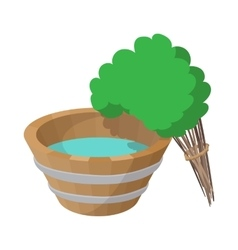 Russian bath tub and broom icon cartoon style vector