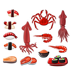 Seafood sushi and rolls japanese sea food vector