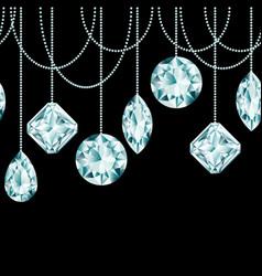 seamless border made of diamond christmas vector image