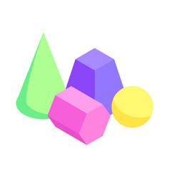 set different color geometric figures banner vector image