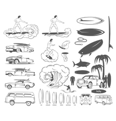 Set Elements of Surfing and Extreme Sports vector
