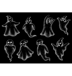 Set of Halloween ghosts on a blackboard vector image