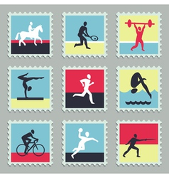 Set stamps with sport icons vector