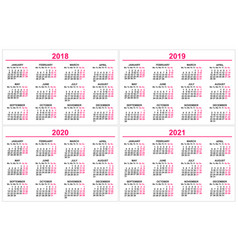 set wall calendar 2018 2019 2020 2021 grid vector image