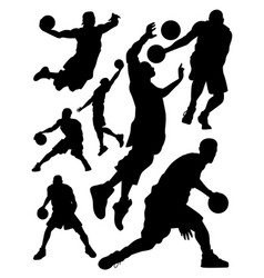 silhouettes basketball players vector image