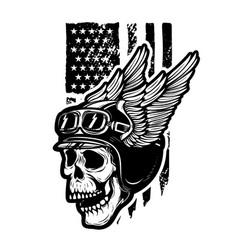 Skull in winged motorcycle helmet on american vector